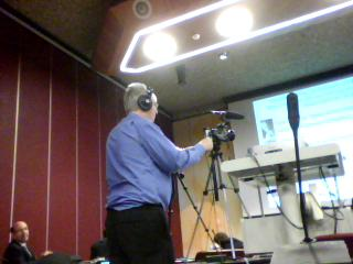 Sean Daly recording the keynote, image taken from the EeePC webcam