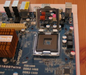 ASrock Motherboard showing the processor socket