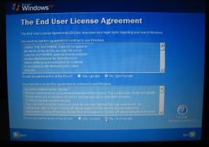Windows XP EULA Screen