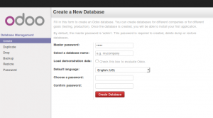 Odoo 8 New Database